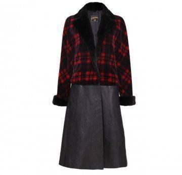 黑红格子皮质长外套