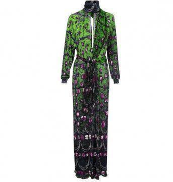绿色印花连身裙