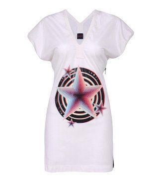 3D印花短袖超长T恤