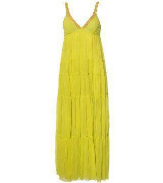 链条饰柠黄色及踝长裙
