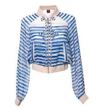 蓝色条纹绉褶短夹克