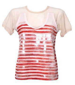 亮片饰红色条纹T恤