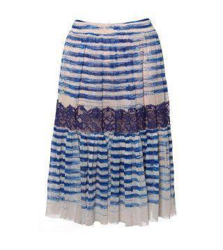 蕾丝饰蓝色波纹过膝裙