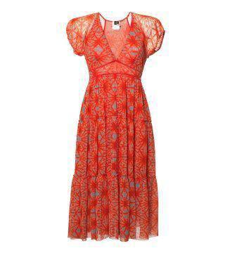 红色印花绉褶连身裙