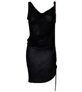 黑色不对称肩线抽带连身裙