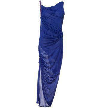 蓝色绉褶不对称肩线礼服裙