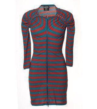 双色条纹拉链连身裙