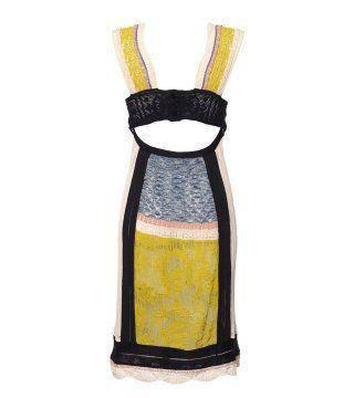 拼片色接针织连身裙