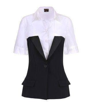 黑色西装拼接式衬衫
