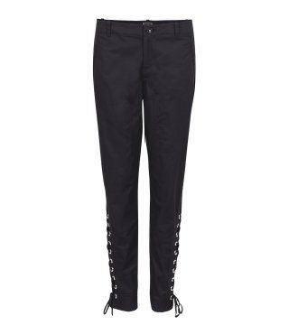 黑色束腿长裤