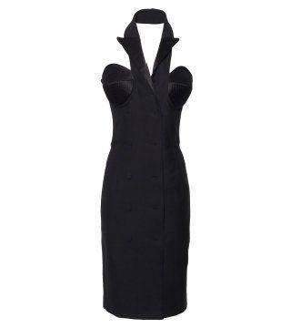 黑色西装解构连身裙