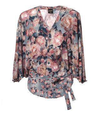 印花束带衬衫