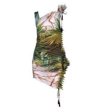 植物印花百褶抽带连身裙