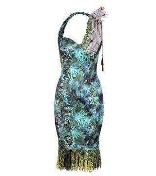 植物印花绉褶连身裙