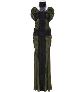 蕾丝饰军绿色褶皱及地连身裙
