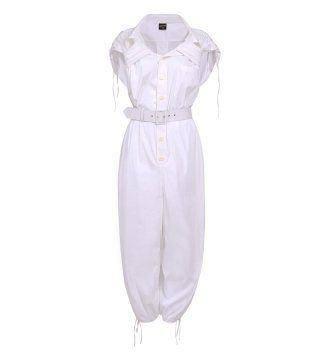 白色束腰抽带连衣裤