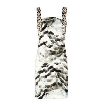 动物印花绸缎礼服