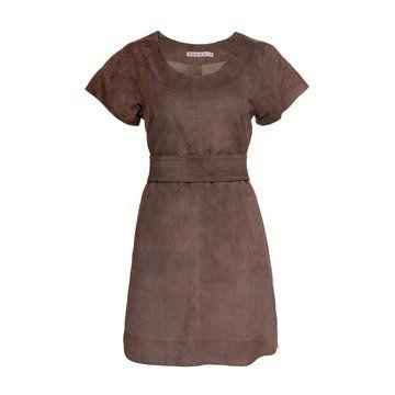 棕色绒面连衣裙