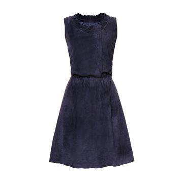 宝蓝色绒面连衣裙