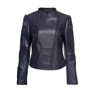 宝蓝色皮革夹克