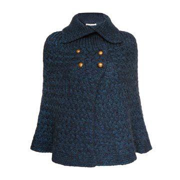 深蓝色羊毛针织斗篷