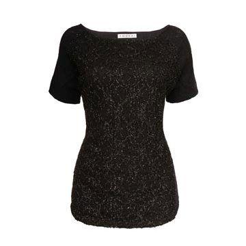 黑色羊毛短袖