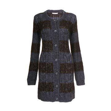 蓝色条纹针织大衣