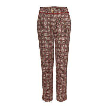 红色印花长裤