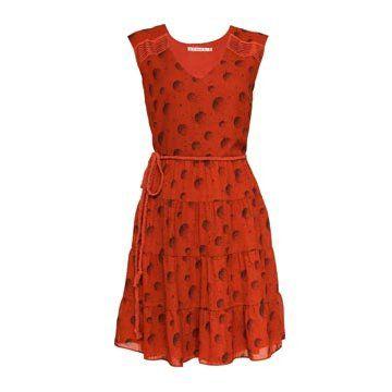 橘红色真丝连衣裙