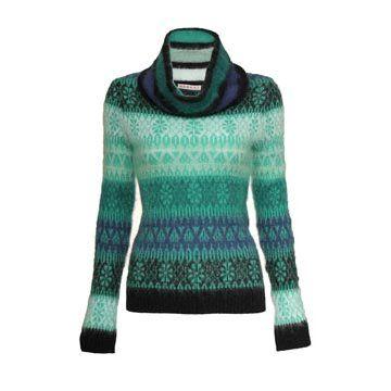 绿色羊毛针织衫