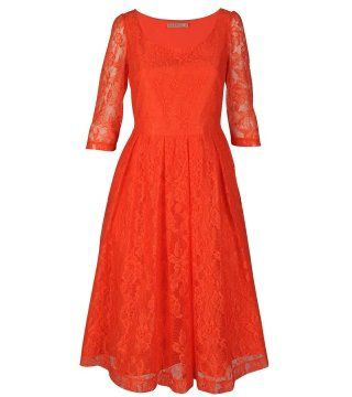 红色蕾丝中袖连身裙
