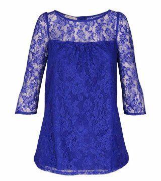 琉璃蓝蕾丝上衣