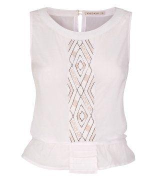 珠绣饰白色无袖T恤