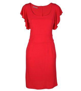 红色百合袖连身裙