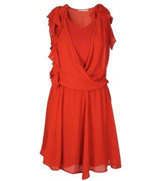 红色不对称荷叶饰袖连身裙