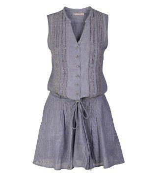 细条纹抽带束腰连身裙