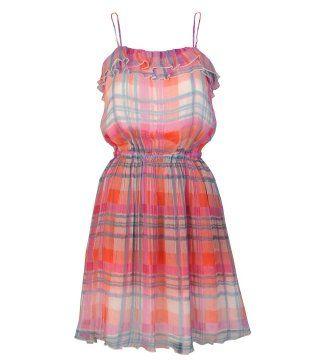 彩色格纹雪纺连身裙