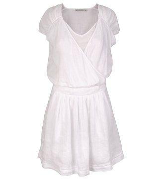 纯白亚麻连身裙