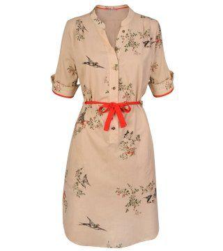 动植物印花束腰衬衫裙