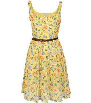 黄色束腰印花连身裙