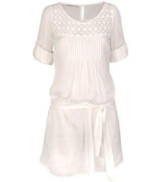 白色束带饰连衣裙