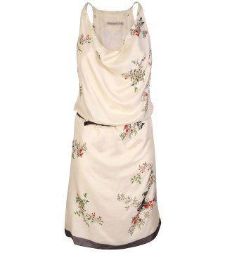 动植物印花真丝连身裙