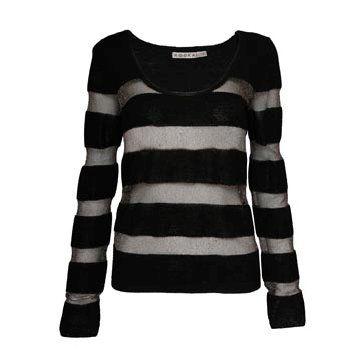 黑灰条纹针织衫