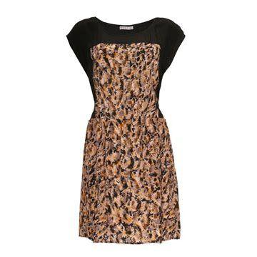咖色印花连衣裙
