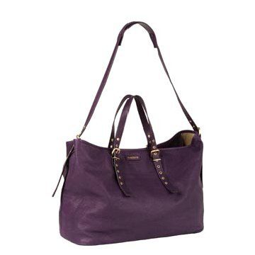 紫色皮革手提包
