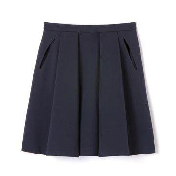 藏蓝色羊毛半裙