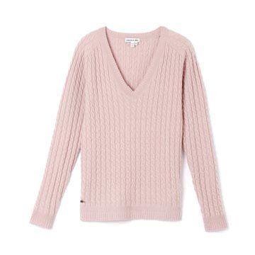 粉色螺纹针织衫