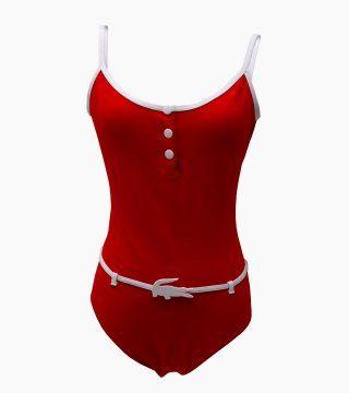 红色连体泳衣