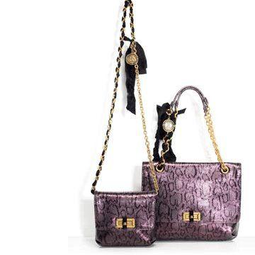 浅紫色蛇皮单肩包