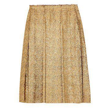 金属感斜纹软呢褶饰裙